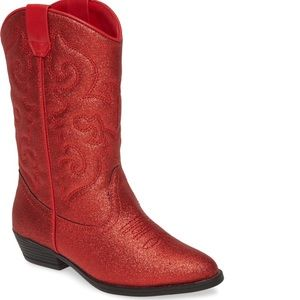 Tucker + Tate red glitter cowboy boots